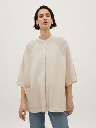 Zip-Up Poncho With Pockets 179612