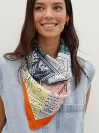 Printed Square Neckerchief Made From Recycled Materials 189953